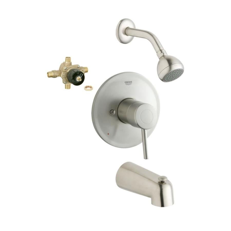 GROHE Concetto Brushed Nickel 1-Handle Bathtub and Shower Faucet with Single Function Showerhead