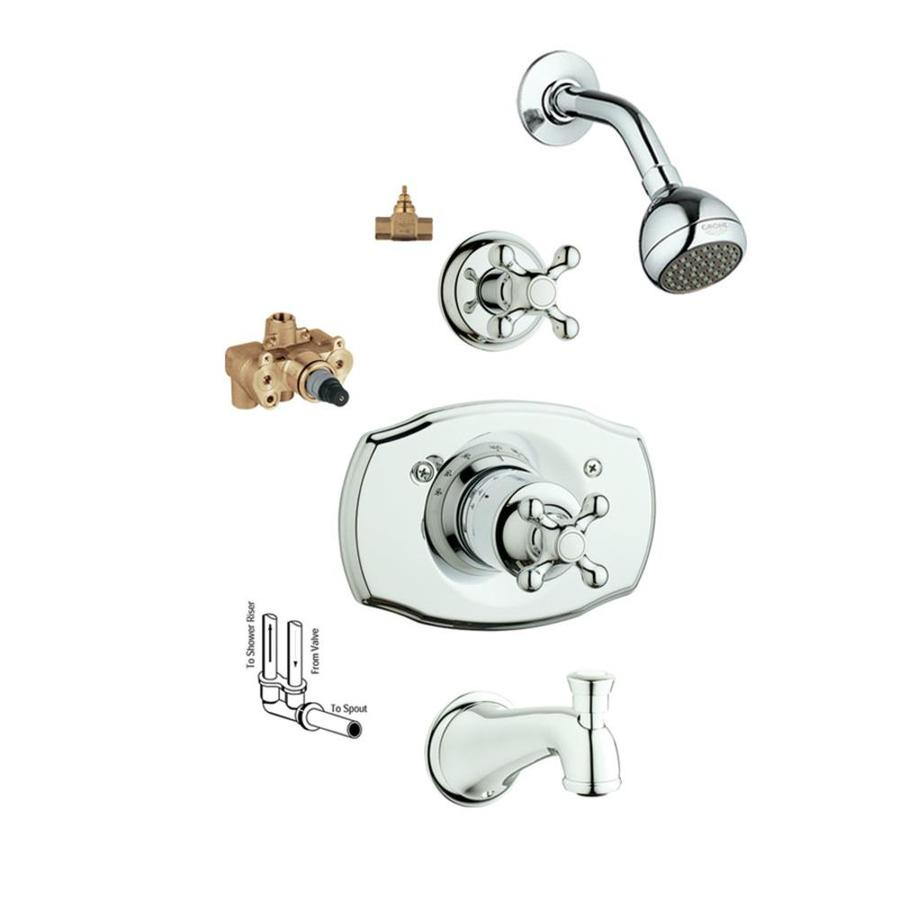 GROHE Seabury Starlight Chrome 1-Handle Bathtub and Shower Faucet with Single Function Showerhead