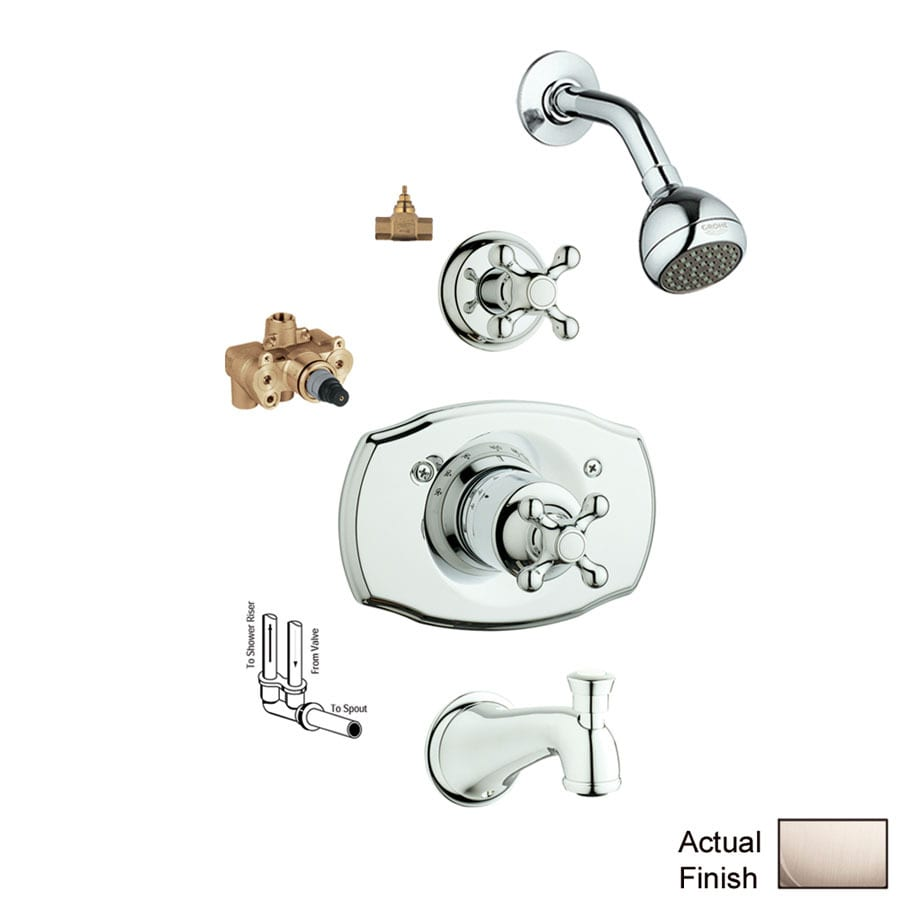 GROHE Seabury Brushed Nickel 1-Handle Faucet with Valve