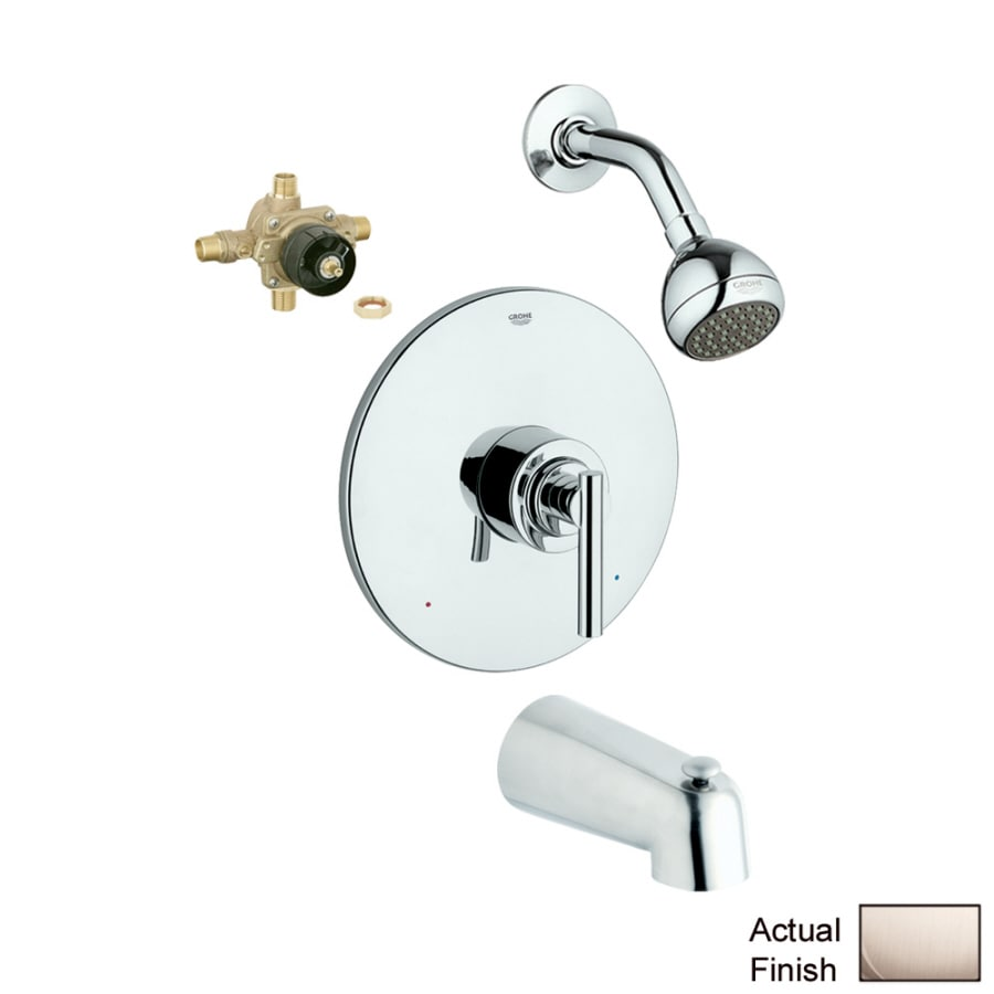 GROHE Atrio Brushed Nickel 1-Handle Bathtub and Shower Faucet with Single Function Showerhead