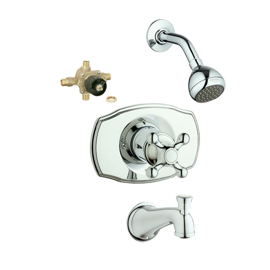 GROHE Geneva Starlight Chrome 1-Handle Bathtub and Shower Faucet with Single Function Showerhead