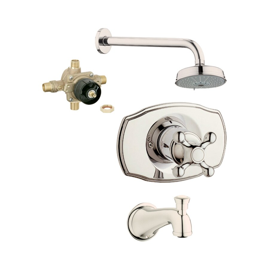 GROHE Geneva Polished Nickel 1-Handle Bathtub and Shower Faucet with Multi-Function Showerhead