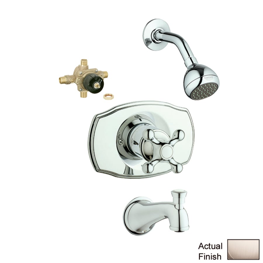 GROHE Geneva Brushed Nickel 1-Handle Bathtub and Shower Faucet with Single Function Showerhead