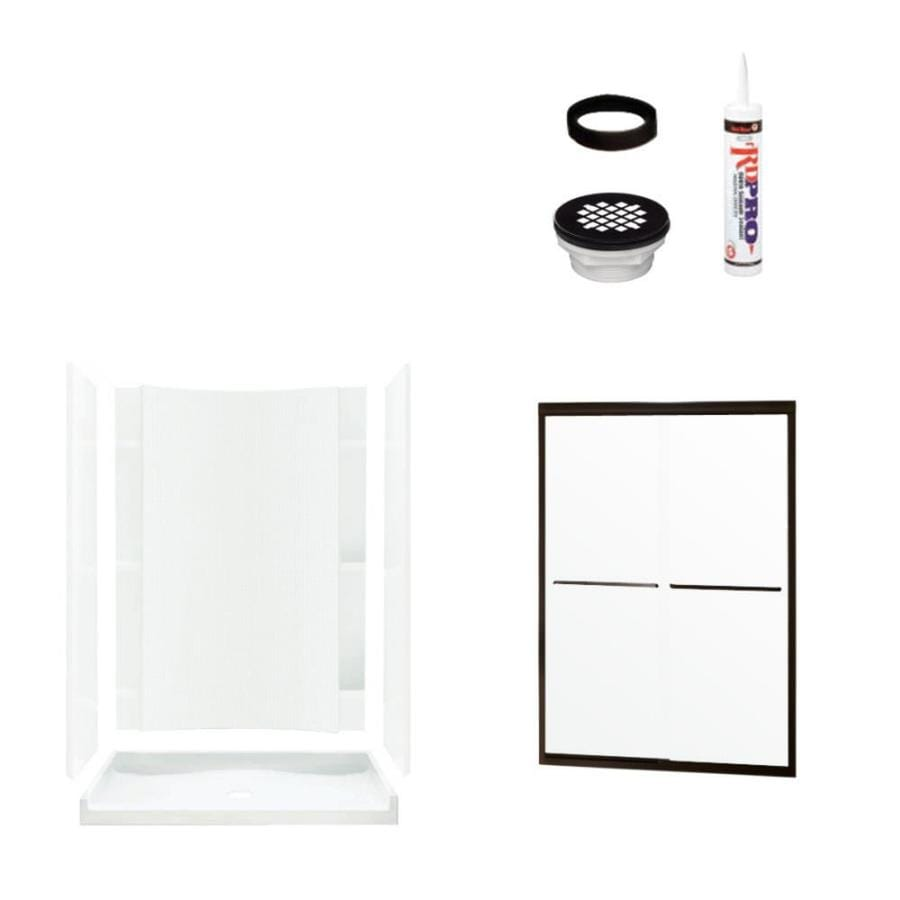 Sterling Accord White Wall Vikrell Floor 4-Piece Alcove Shower Kit (Common: 36-in x 60-in; Actual: 77-in x 36-in x 60-in)