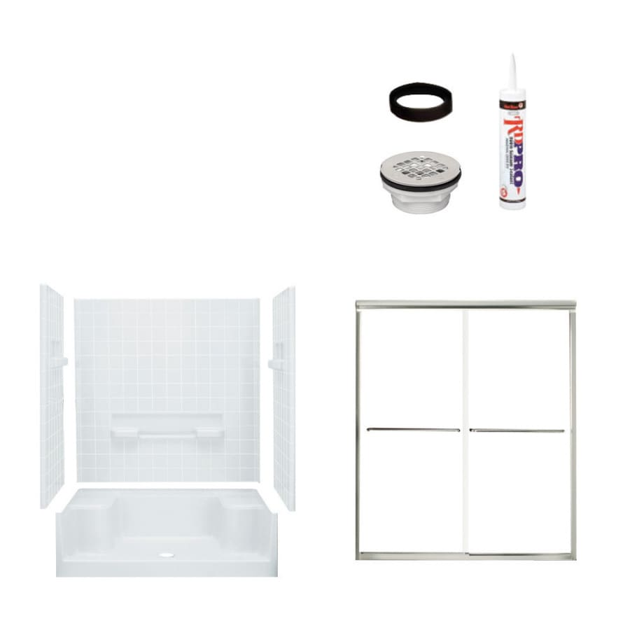 Shop Sterling Advantage White 4 Piece Alcove Shower Kit Common 34 In X 60 I