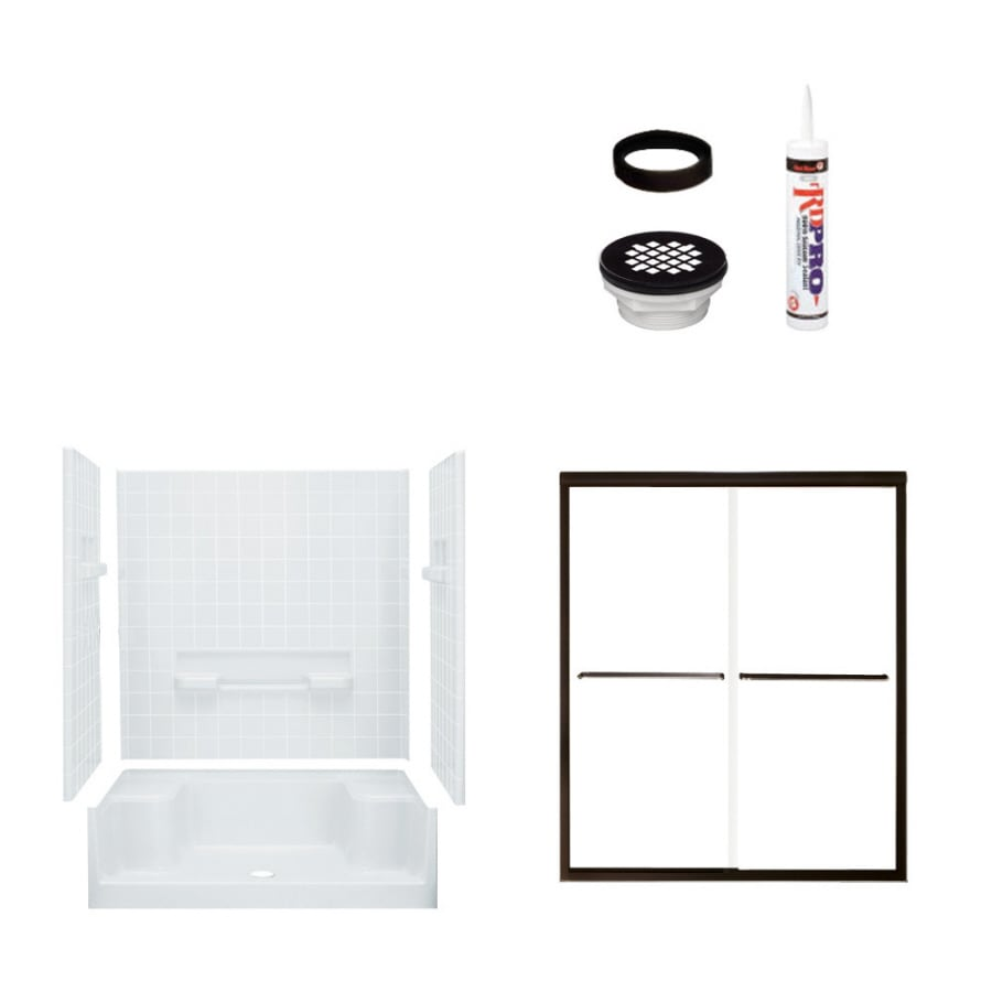 Sterling Advantage White Vikrell Wall and Floor 4-Piece Alcove Shower Kit (Common: 34-in x 60-in; Actual: 76-in x 34-in x 60-in)
