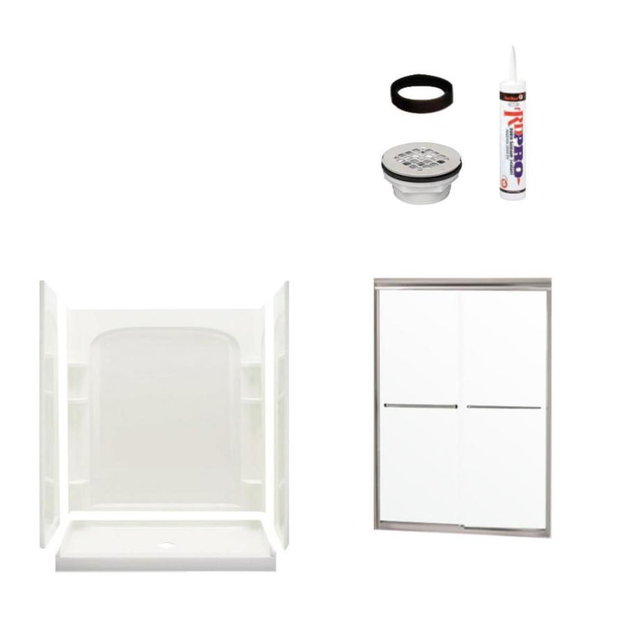 Sterling Ensemble White 4-Piece Alcove Shower Kit (Common: 34-in x 60-in; Actual: 34-in x 60-in)