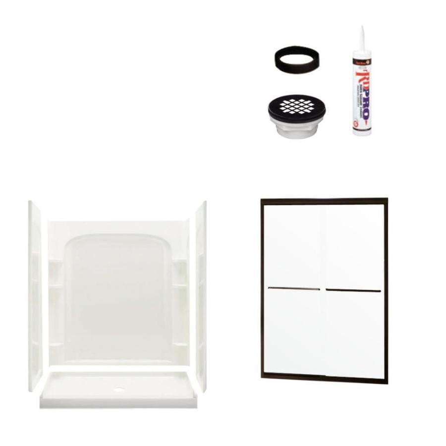 Sterling Ensemble White Vikrell Wall and Floor 4-Piece Alcove Shower Kit (Common: 34-in x 60-in; Actual: 75.75-in x 34-in x 60-in)