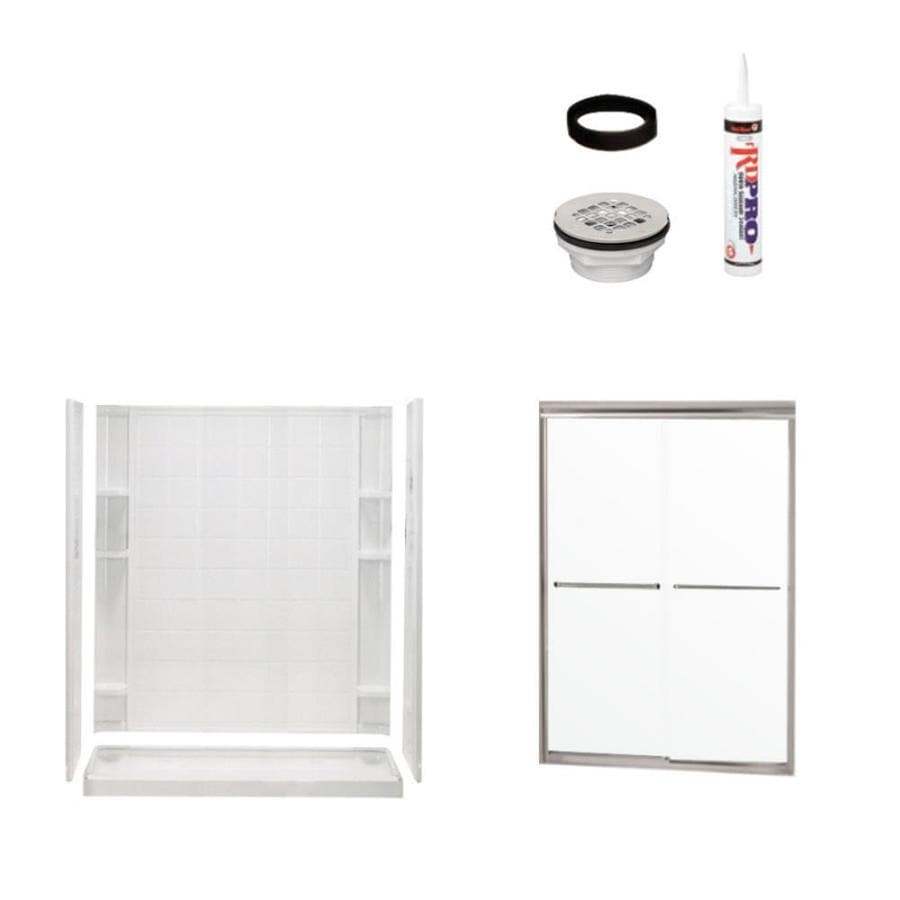 Sterling Ensemble White Wall Vikrell Floor 4-Piece Alcove Shower Kit (Common: 34-in x 60-in; Actual: 75.75-in x 34-in x 60-in)