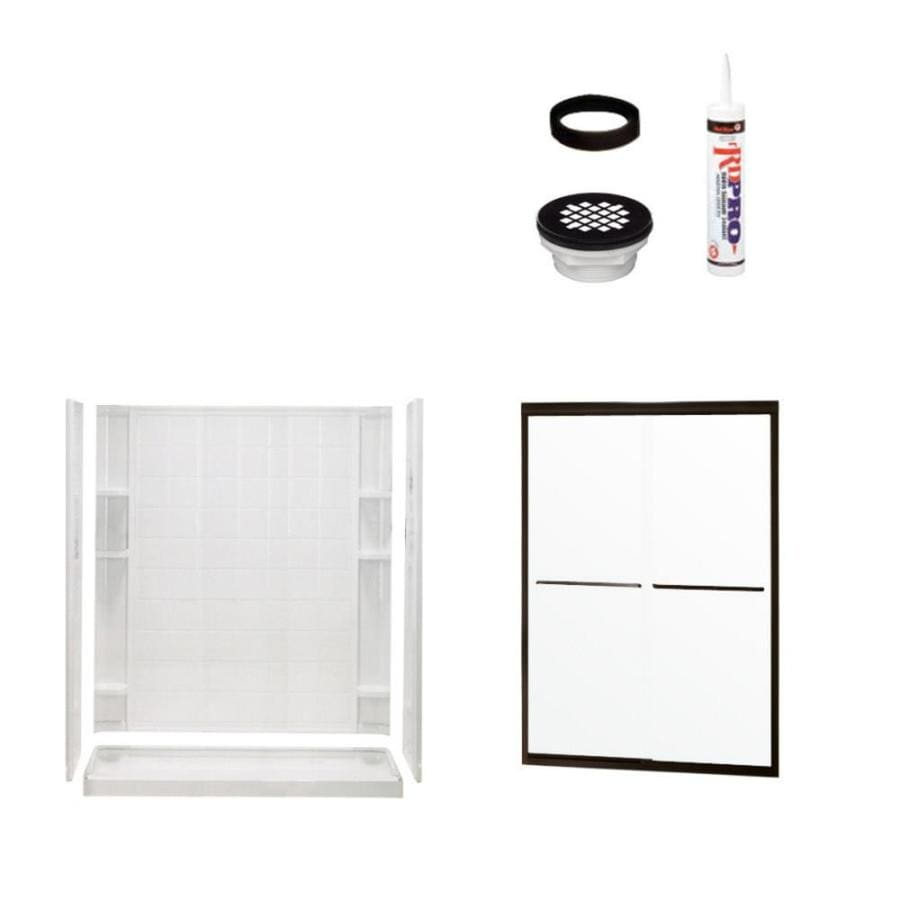 Sterling Ensemble White 4-Piece Alcove Shower Kit (Common: 34-in x 60-in; Actual: 75.75-in x 34-in x 60-in)