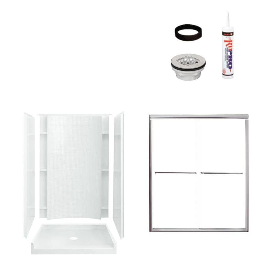 Sterling Accord White 4-Piece Alcove Shower Kit (Common: 36-in x 48-in; Actual: 77-in x 36-in x 48-in)