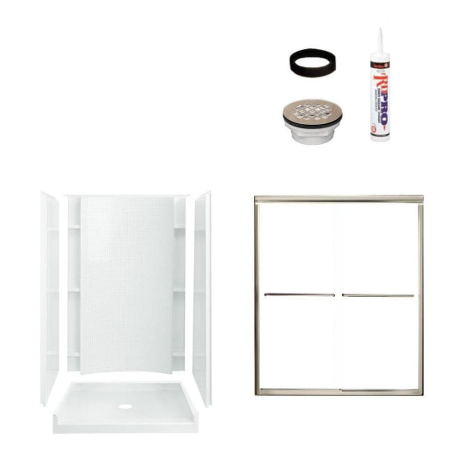 Sterling Accord White Vikrell Wall and Floor 4-Piece Alcove Shower Kit (Common: 36-in x 48-in; Actual: 77-in x 36-in x 48-in)