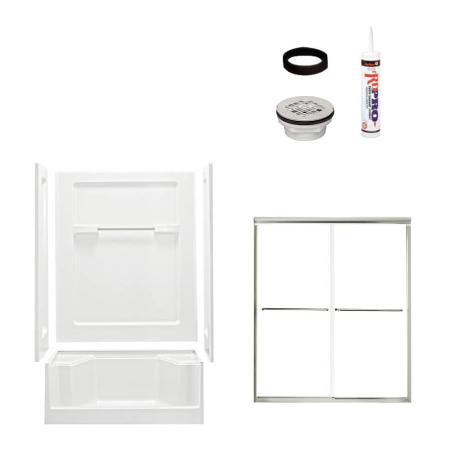 Sterling Advantage White Wall Vikrell Floor 4-Piece Alcove Shower Kit (Common: 34-in x 48-in; Actual: 72-in x 34-in x 48-in)