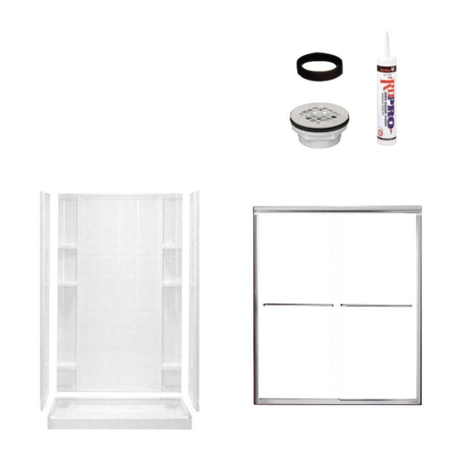 Sterling Ensemble White 4-Piece Alcove Shower Kit (Common: 34-in x 48-in; Actual: 77-in x 35.25-in x 48-in)