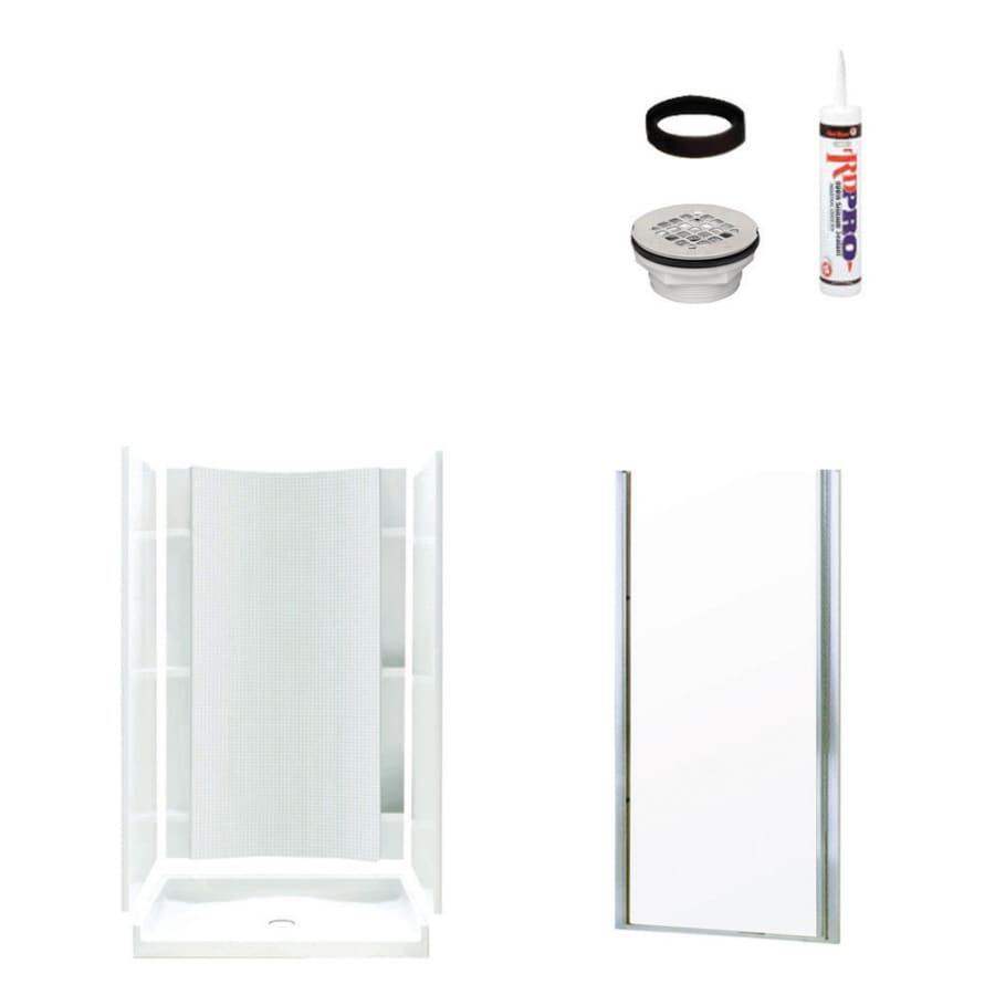 Sterling Accord White Vikrell Wall and Floor 4-Piece Alcove Shower Kit (Common: 36-in x 42-in; Actual: 77-in x 36-in x 42-in)