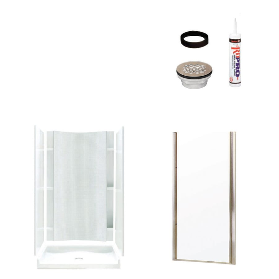 Sterling Accord White 4-Piece Alcove Shower Kit (Common: 36-in x 42-in; Actual: 77-in x 36-in x 42-in)