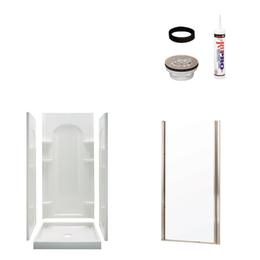Sterling Ensemble White 4-Piece Alcove Shower Kit (Common: 34-in x 42-in; Actual: 34-in x 42-in)