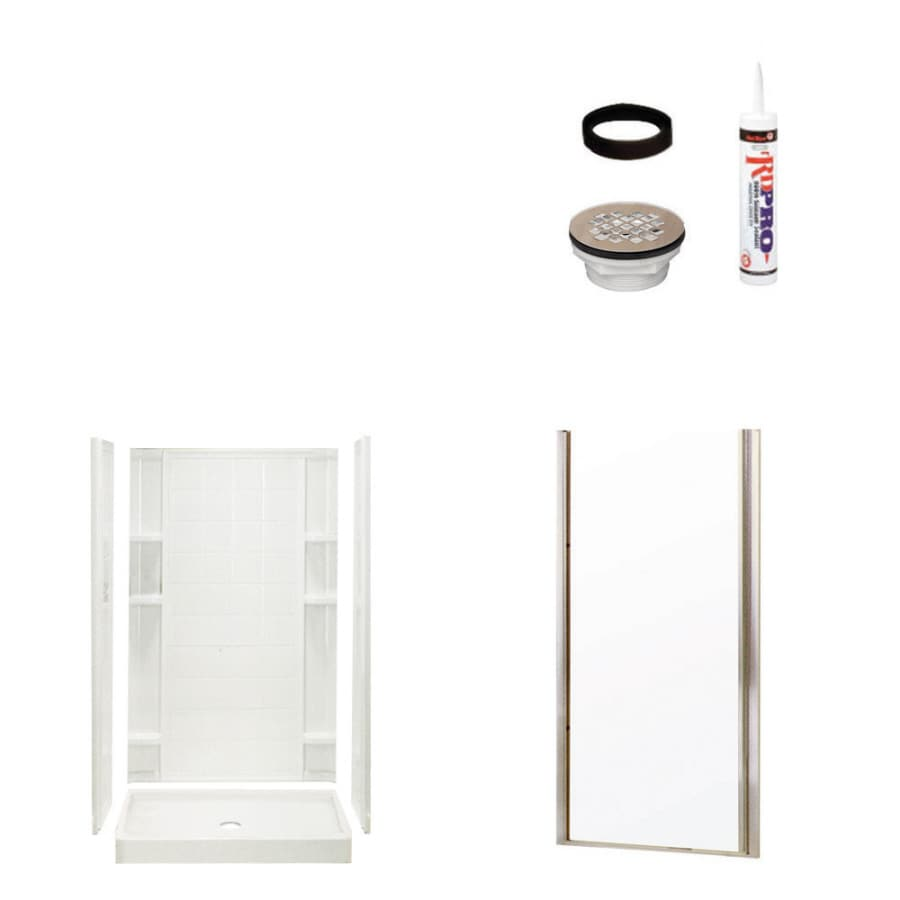 Sterling Ensemble White 4-Piece Alcove Shower Kit (Common: 34-in x 42-in; Actual: 75.75-in x 34-in x 42-in)