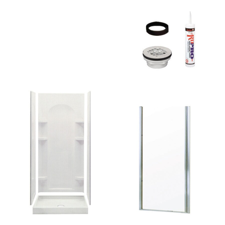 Sterling Ensemble White 5-Piece Alcove Shower Kit (Common: 34-in x 36-in; Actual: 34-in x 36-in)