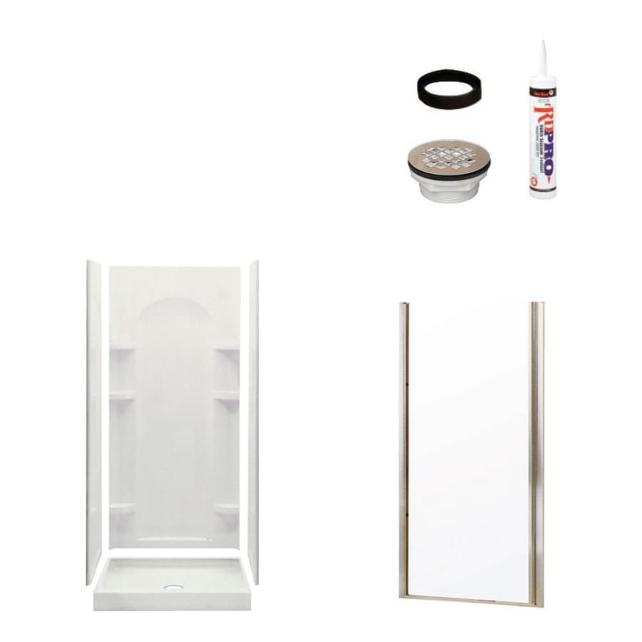 Sterling Ensemble White 4-Piece Alcove Shower Kit (Common: 34-in x 36-in; Actual: 75.75-in x 34-in x 36-in)