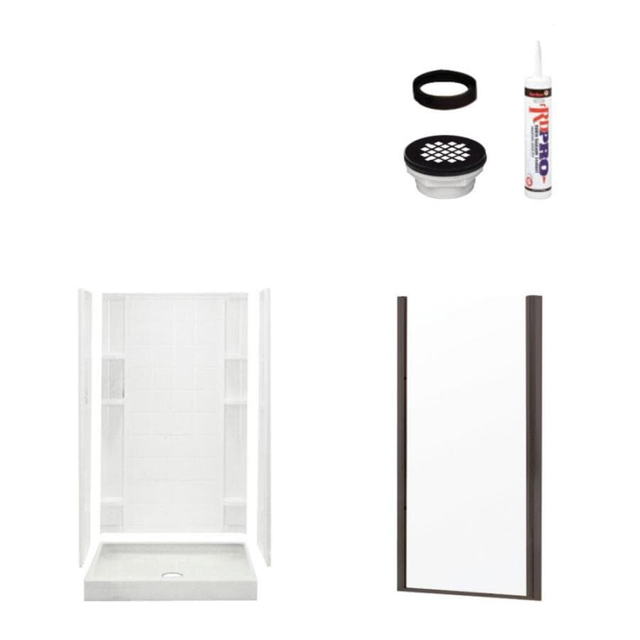 Sterling Ensemble White Vikrell Wall and Floor 4-Piece Alcove Shower Kit (Common: 34-in x 36-in; Actual: 75.75-in x 34-in x 36-in)