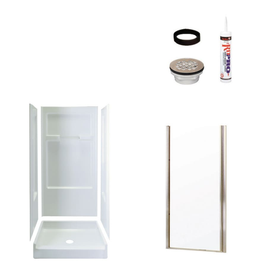 Sterling Advantage White 4-Piece Alcove Shower Kit (Common: 34-in x 36-in; Actual: 72-in x 34-in x 36-in)
