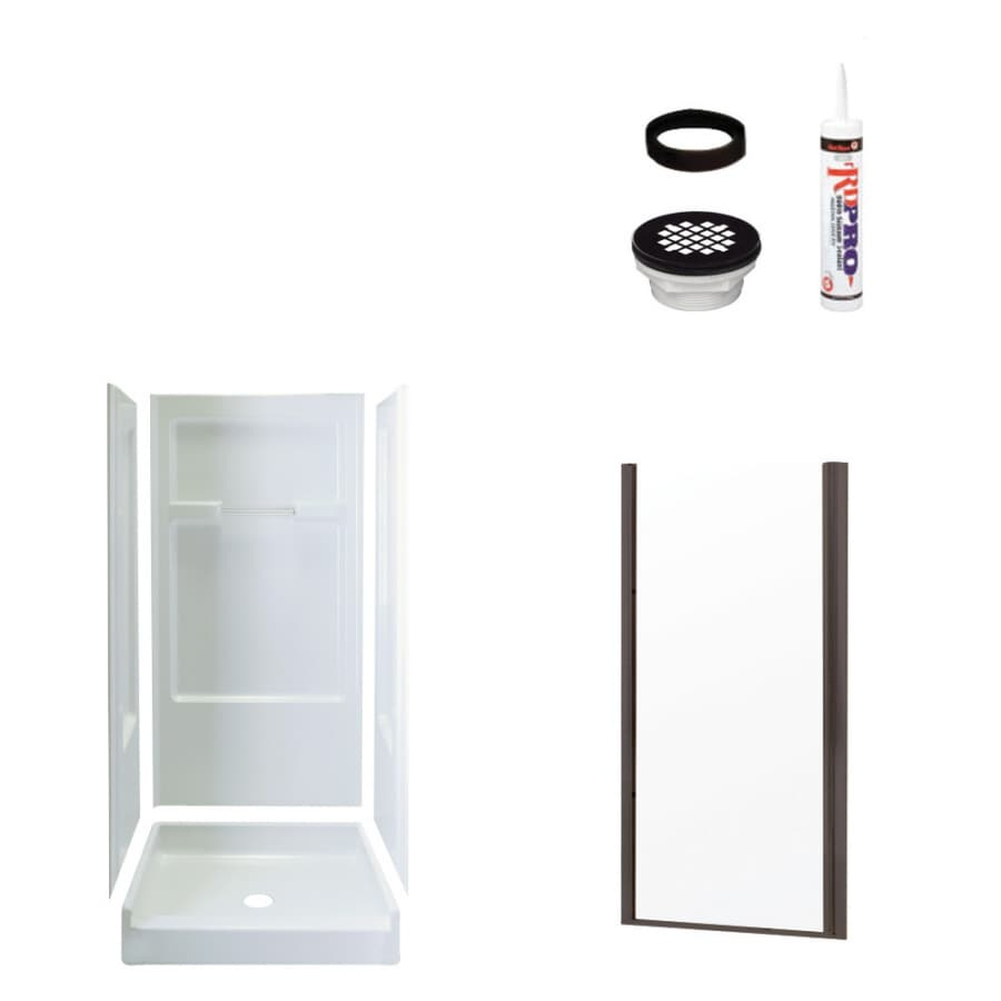 Sterling Advantage White Vikrell Wall and Floor 4-Piece Alcove Shower Kit (Common: 34-in x 36-in; Actual: 72-in x 34-in x 36-in)