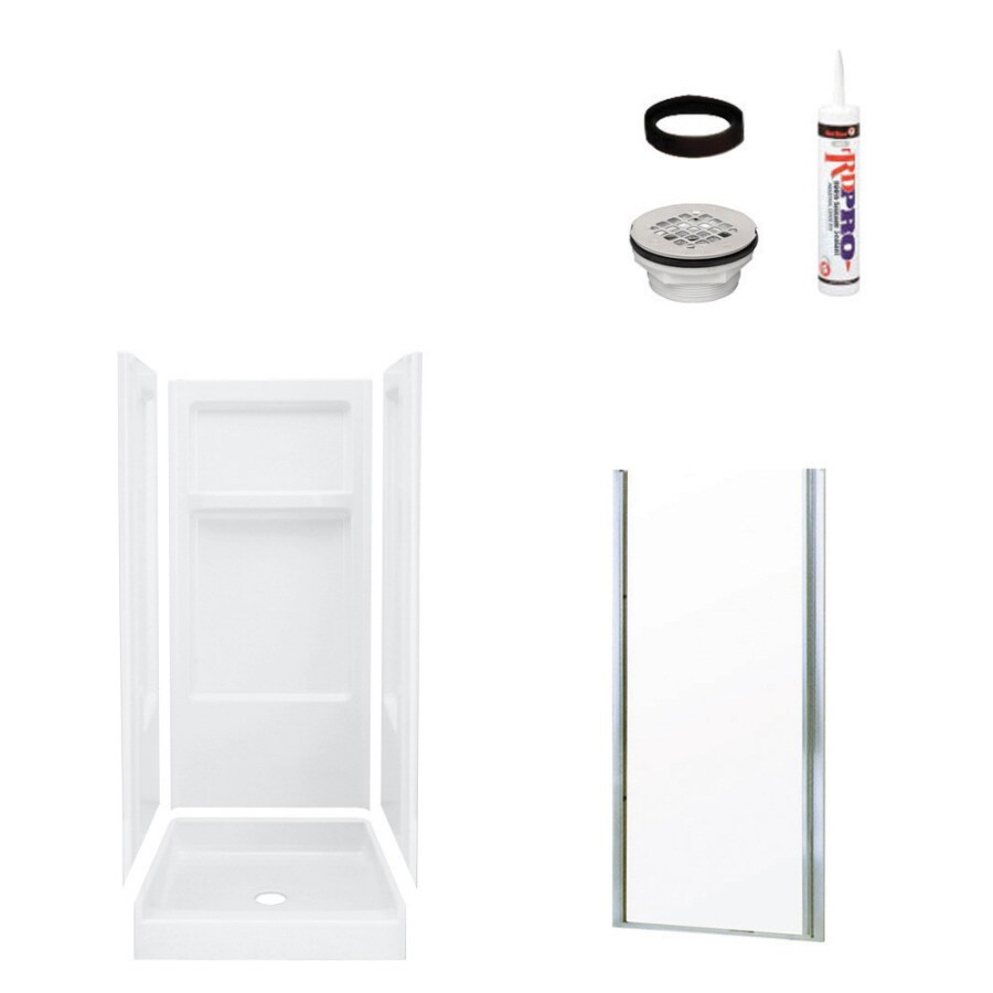 Sterling Advantage White 4-Piece Alcove Shower Kit (Common: 32-in x 34-in; Actual: 72-in x 32-in x 34-in)