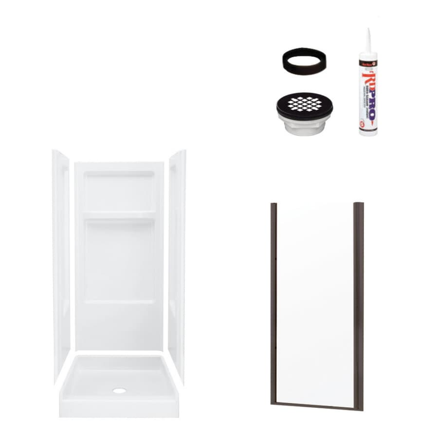 Sterling Advantage White Vikrell Wall and Floor 4-Piece Alcove Shower Kit (Common: 32-in x 34-in; Actual: 72-in x 32-in x 34-in)