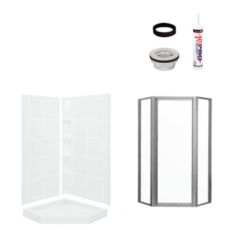 Sterling Intrigue White 4-Piece Alcove Shower Kit (Common: 40-in x 40-in; Actual: 79.125-in x 39-in x 39-in)