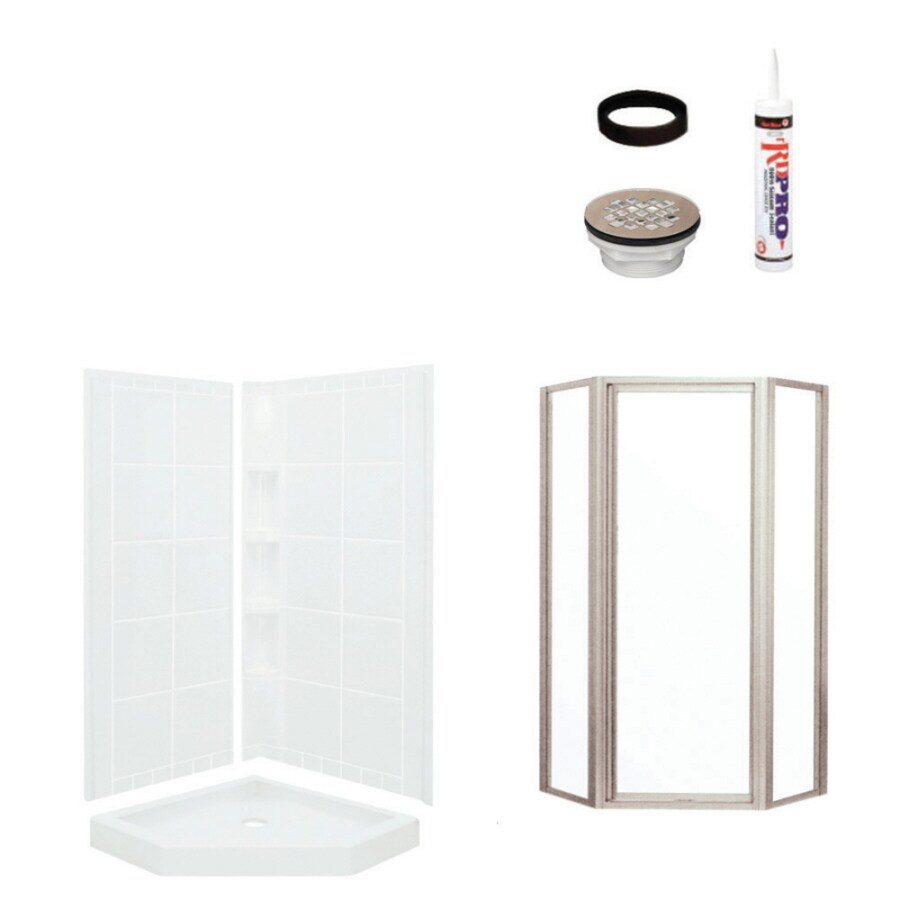 Sterling Intrigue White Vikrell Wall and Floor 4-Piece Alcove Shower Kit (Common: 40-in x 40-in; Actual: 79.125-in x 39-in x 39-in)
