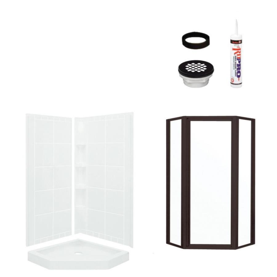Sterling Intrigue White 5-Piece Alcove Shower Kit (Common: 40-in x 40-in; Actual: 39-in x 39-in)