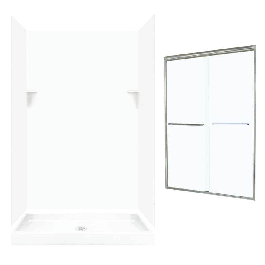 Swanstone White 5-Piece Alcove Shower Kit (Common: 48-in x 32-in; Actual: 72-in x 47-in x 31.125-in)