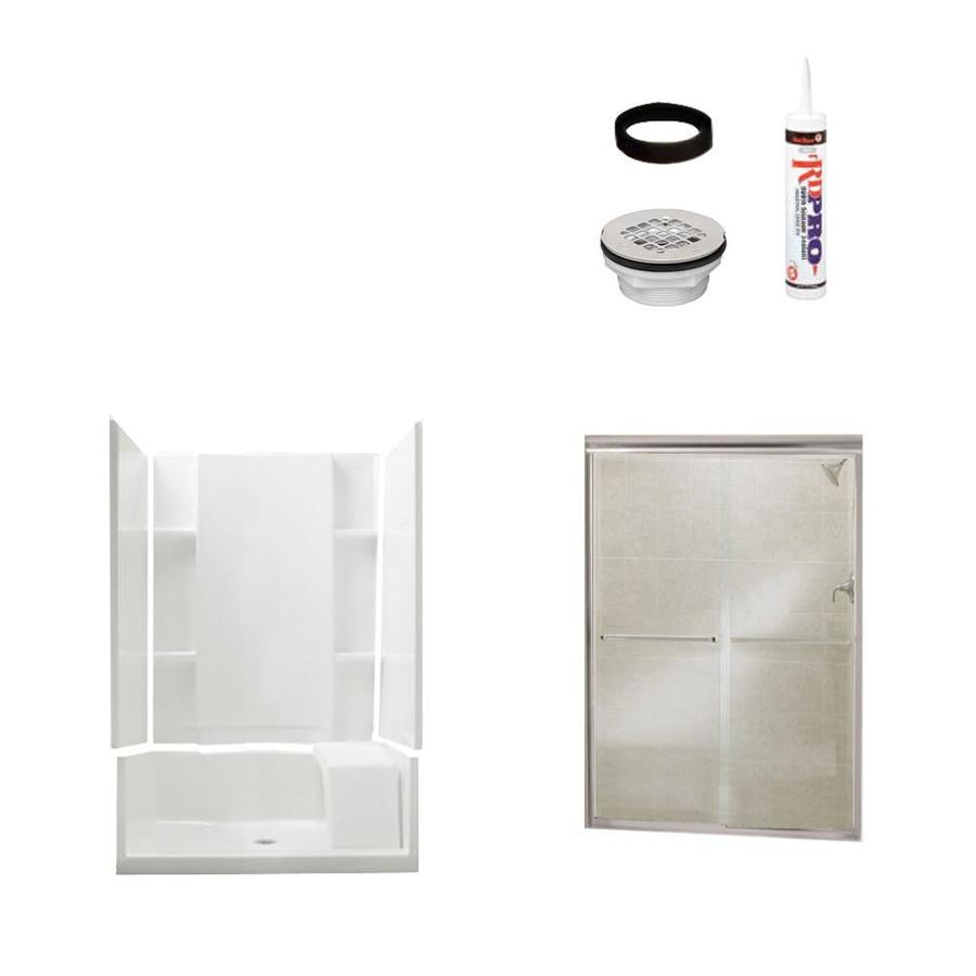 Sterling Accord White Vikrell Wall and Floor 4-Piece Alcove Shower Kit (Common: 36-in x 48-in; Actual: 74.5-in x 36-in x 48-in)