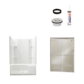 Sterling Accord White 5 Piece Alcove Shower Kit (Common: 36 In X