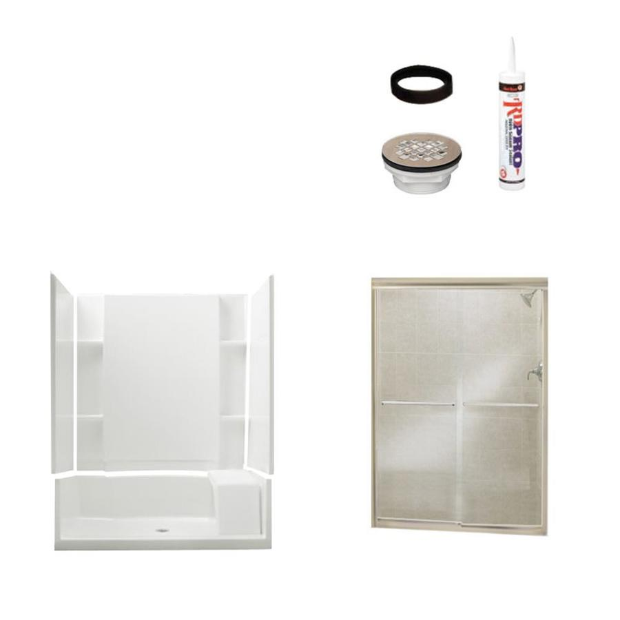 Sterling Accord White Vikrell Wall And Floor 4 Piece Alcove Shower Kit  (Common: