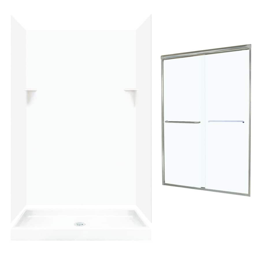 Swanstone White 5-Piece Alcove Shower Kit (Common: 48-in x 34-in; Actual: 72-in x 47-in x 33.125-in)