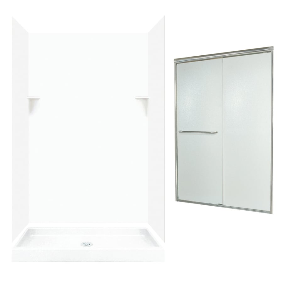 Swanstone White Solid Surface Wall and Floor 5-Piece Alcove Shower Kit (Common: 48-in x 34-in; Actual: 72-in x 47-in x 33.125-in)