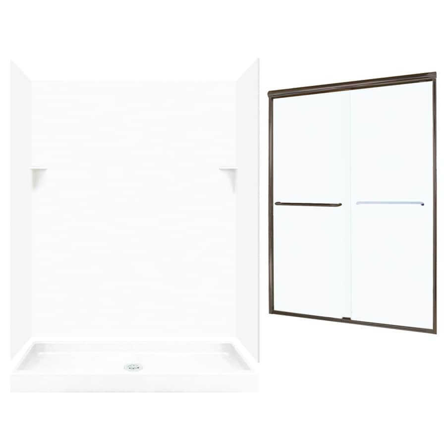 Swanstone White 5-Piece Alcove Shower Kit (Common: 60-in x 34-in; Actual: 59-in x 33.125-in)