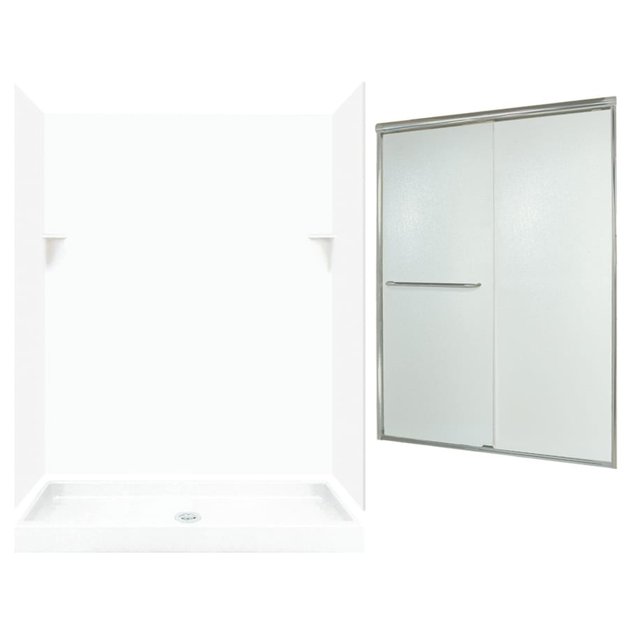 Swanstone White 5-Piece Alcove Shower Kit (Common: 60-in x 34-in; Actual: 72-in x 59-in x 33.125-in)