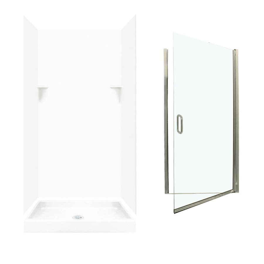 Swanstone White 5-Piece Alcove Shower Kit (Common: 36-in x 36-in; Actual: 35-in x 35.125-in)