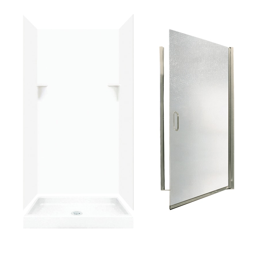 Swanstone White 5-Piece Alcove Shower Kit (Common: 36-in x 36-in; Actual: 72-in x 35-in x 35.125-in)