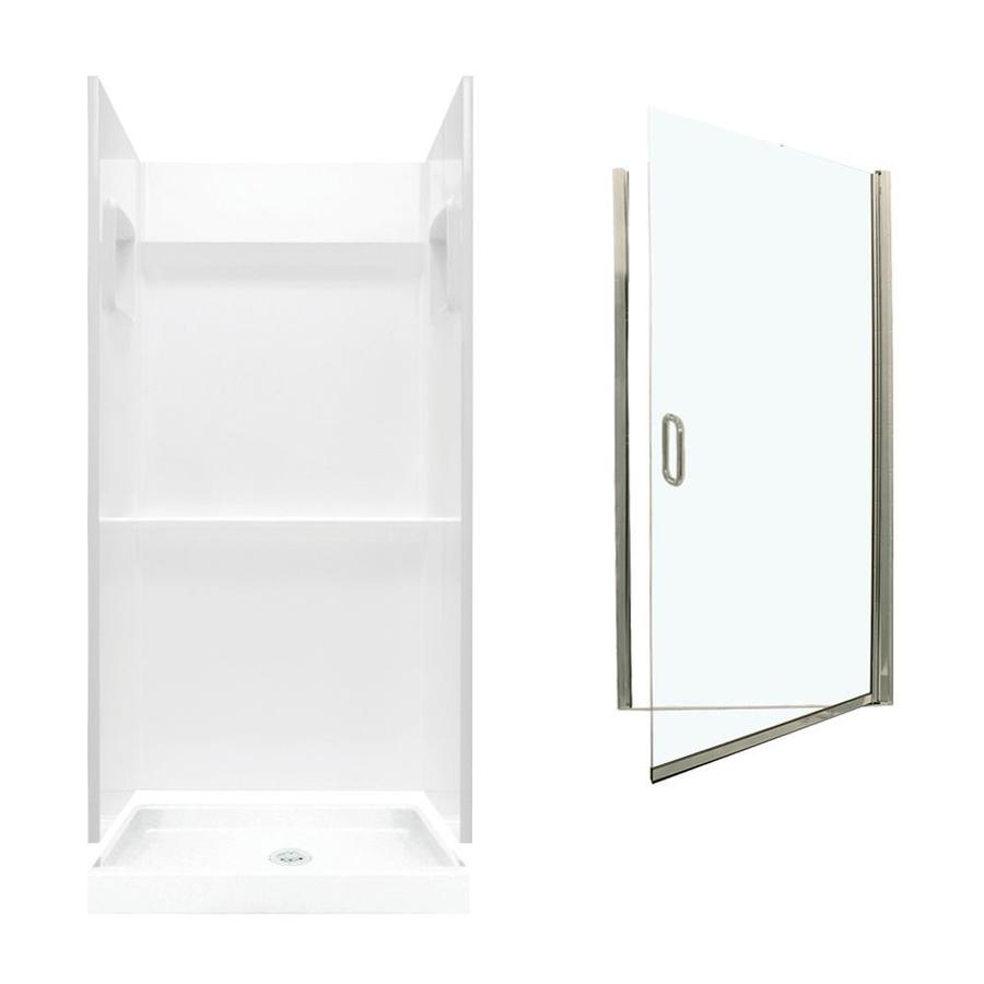 Swanstone Veritek White Fiberglass/Plastic Wall and Floor 3-Piece Alcove Shower Kit (Common: 32-in x 32-in; Actual: 73.25-in x 32-in x 32-in)