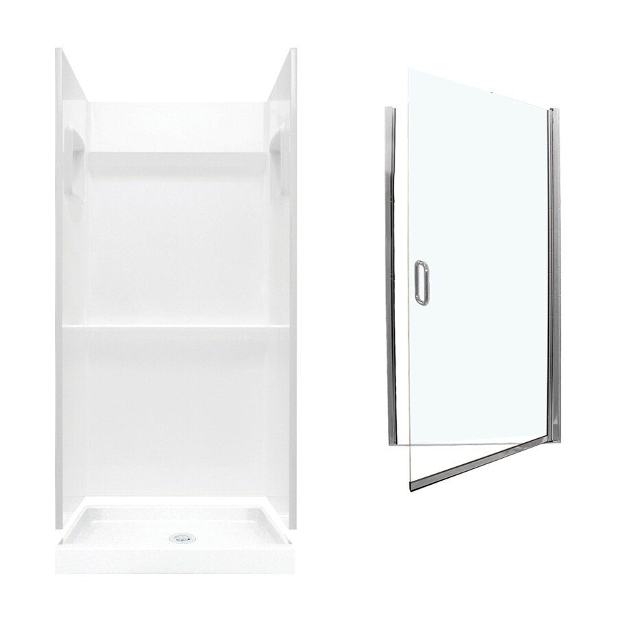 Swanstone Veritek White 3-Piece Alcove Shower Kit (Common: 36-in x 36-in; Actual: 73.25-in x 36-in x 36-in)
