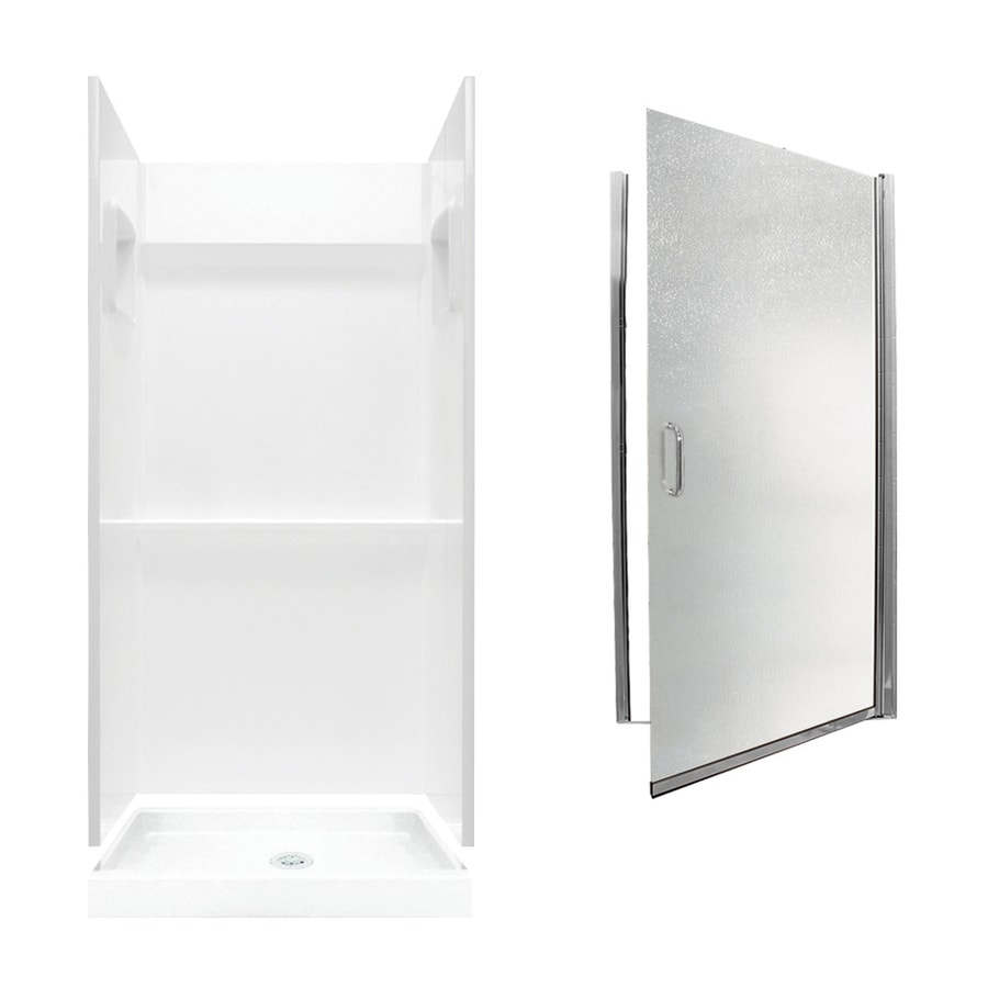 Swanstone Veritek White 3-Piece Alcove Shower Kit (Common: 36-in x 36-in; Actual: 73.25-in x 36-in x 36-in)