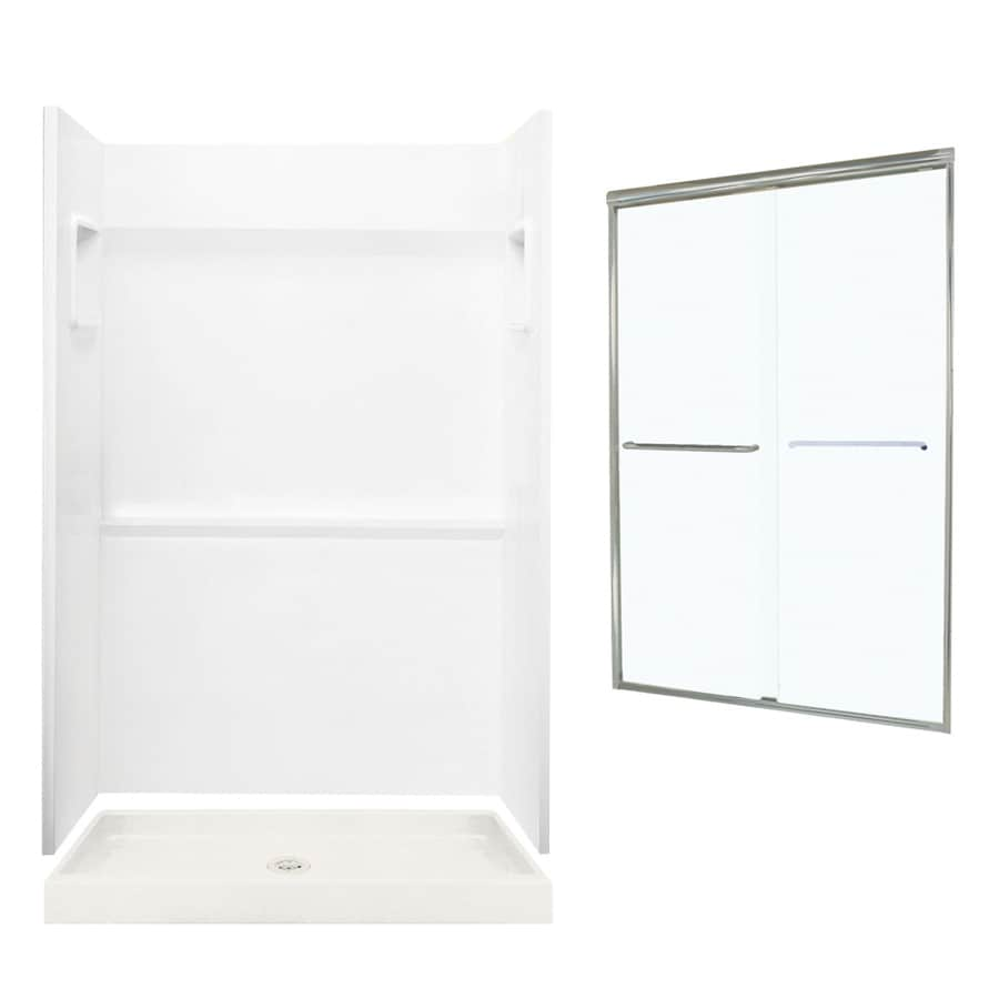 Swanstone Veritek White 3-Piece Alcove Shower Kit (Common: 48-in x 34-in; Actual: 48-in x 34-in)