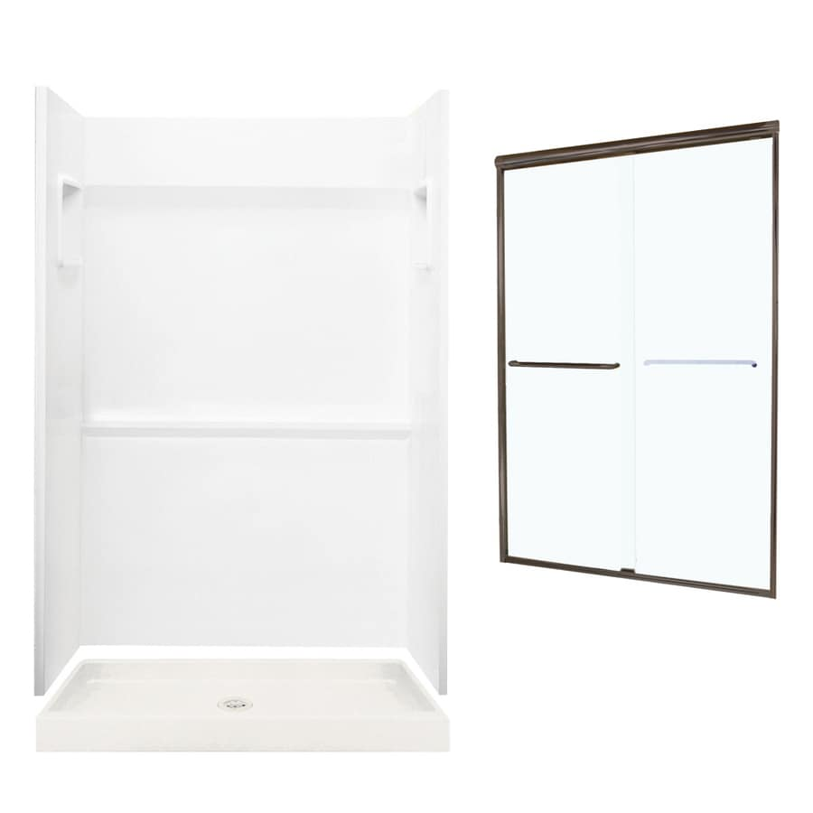 Swanstone Veritek White 3-Piece Alcove Shower Kit (Common: 48-in x 34-in; Actual: 73.25-in x 48-in x 34-in)