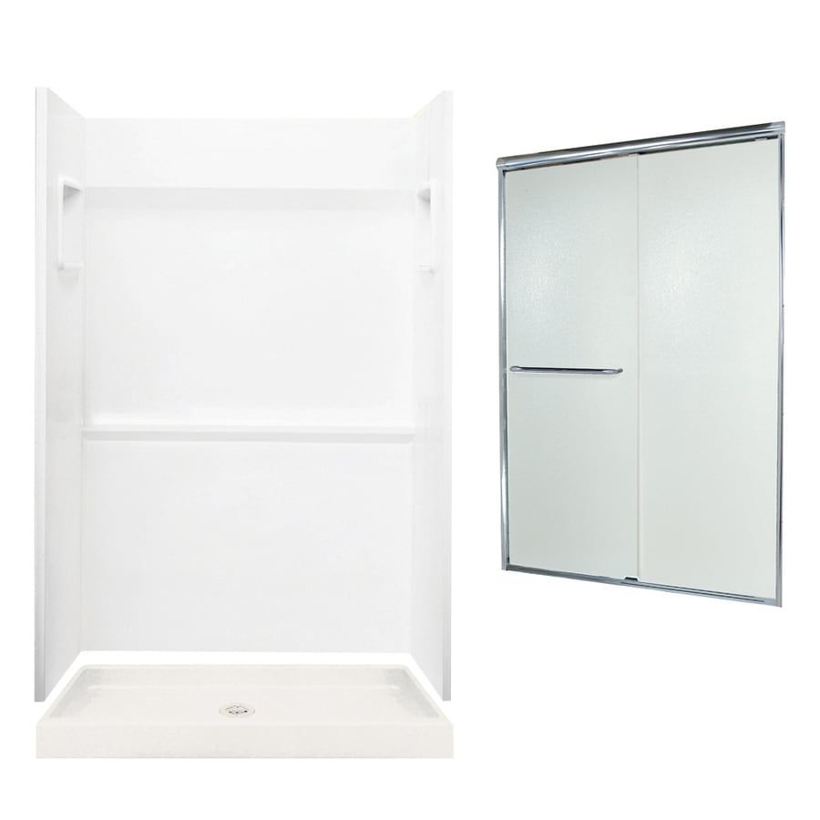Swanstone Veritek White Fiberglass/Plastic Wall and Floor 3-Piece Alcove Shower Kit (Common: 48-in x 34-in; Actual: 73.25-in x 48-in x 34-in)
