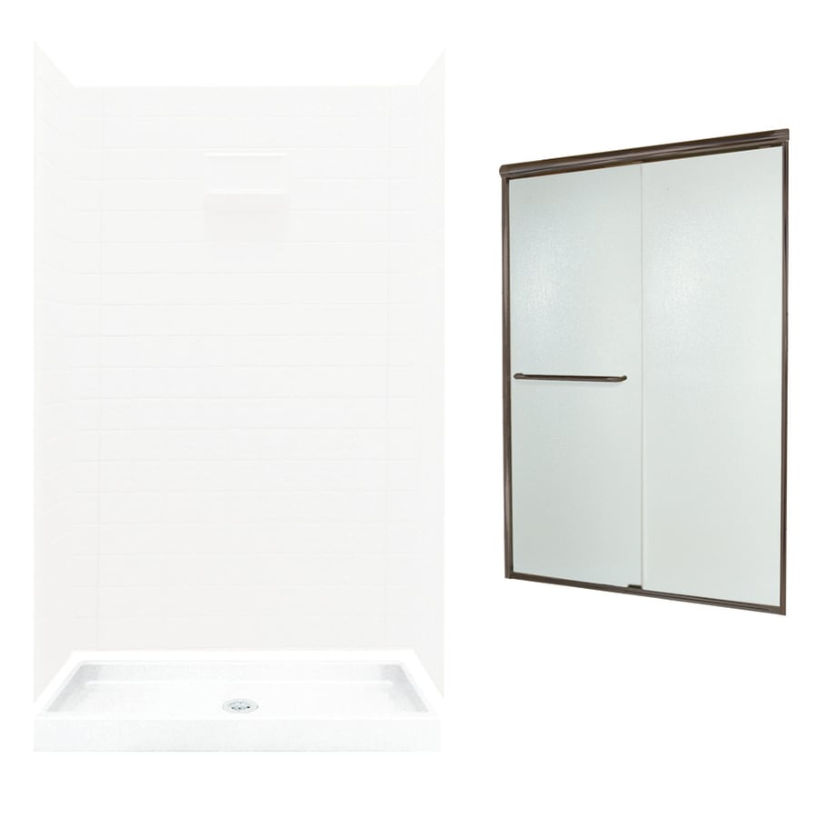 Swanstone Veritek White Fiberglass/Plastic Wall and Floor 5-Piece Alcove Shower Kit (Common: 48-in x 34-in; Actual: 71.625-in x 46.6875-in x 34.75-in)