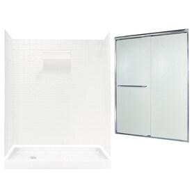 swanstone veritek wall and floor 5piece alcove shower kit common